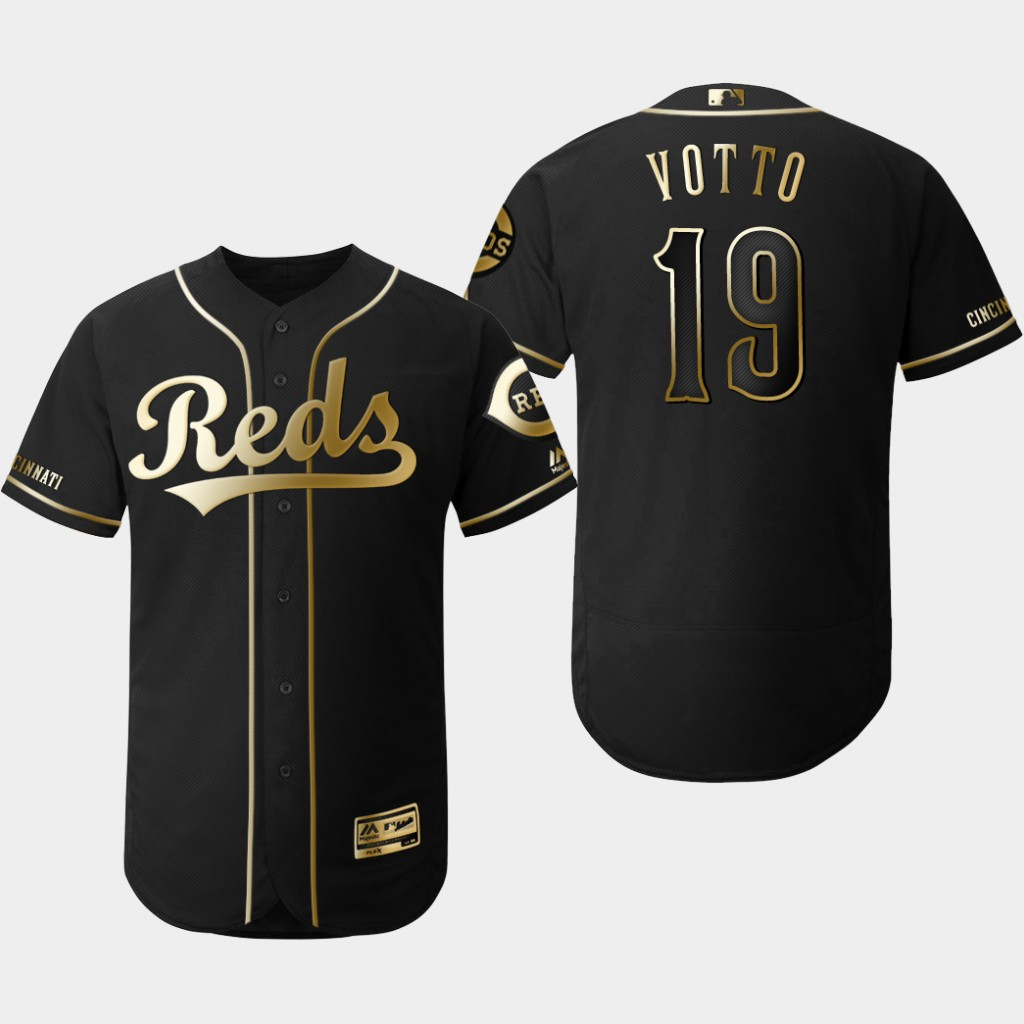 Reds 19 Joey Votto Black Gold Flexbase Jersey