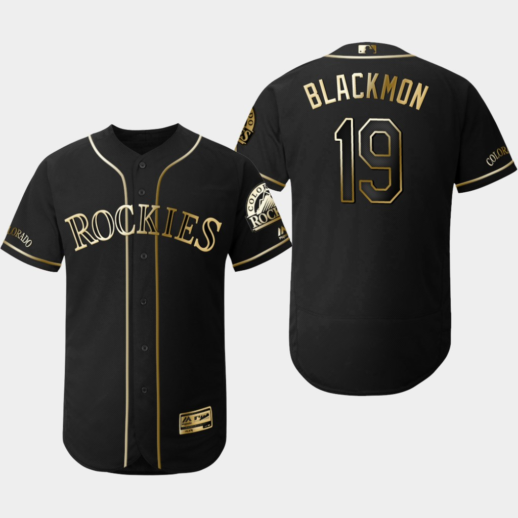 Rockies 19 Charlie Blackmon Black Gold Flexbase Jersey