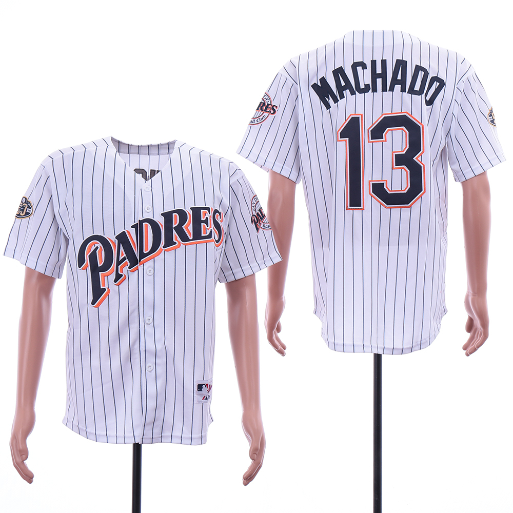 Padres 13 Manny Machado White 50th Anniversary Patch Turn Back The Clock Jersey