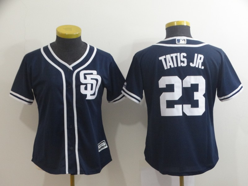 Padres 23 Fernando Tatis Jr. Navy Women Cool Base Jersey