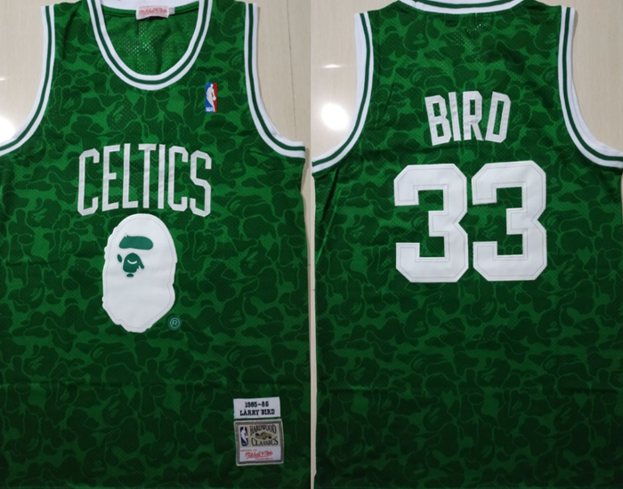 Celtics Bape 33 Larry Bird Green 1985-86 Hardwood Classics Jersey