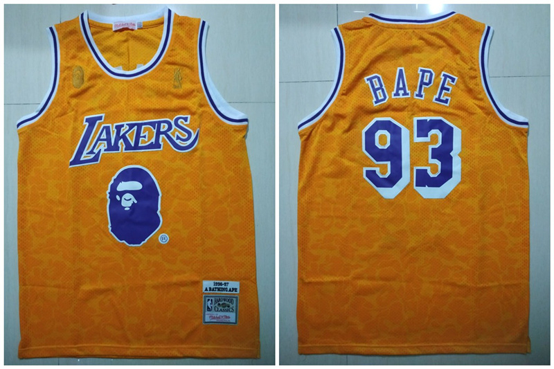Lakers 93 Bape Yellow 1996-97 Hardwood Classics Jersey