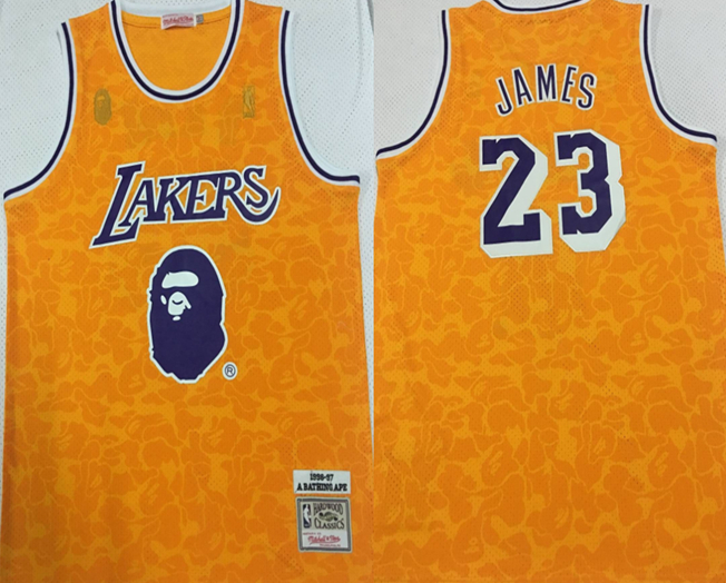 Lakers Bape 23 Lebron James Yellow 1996-97 Hardwood Classics Jersey