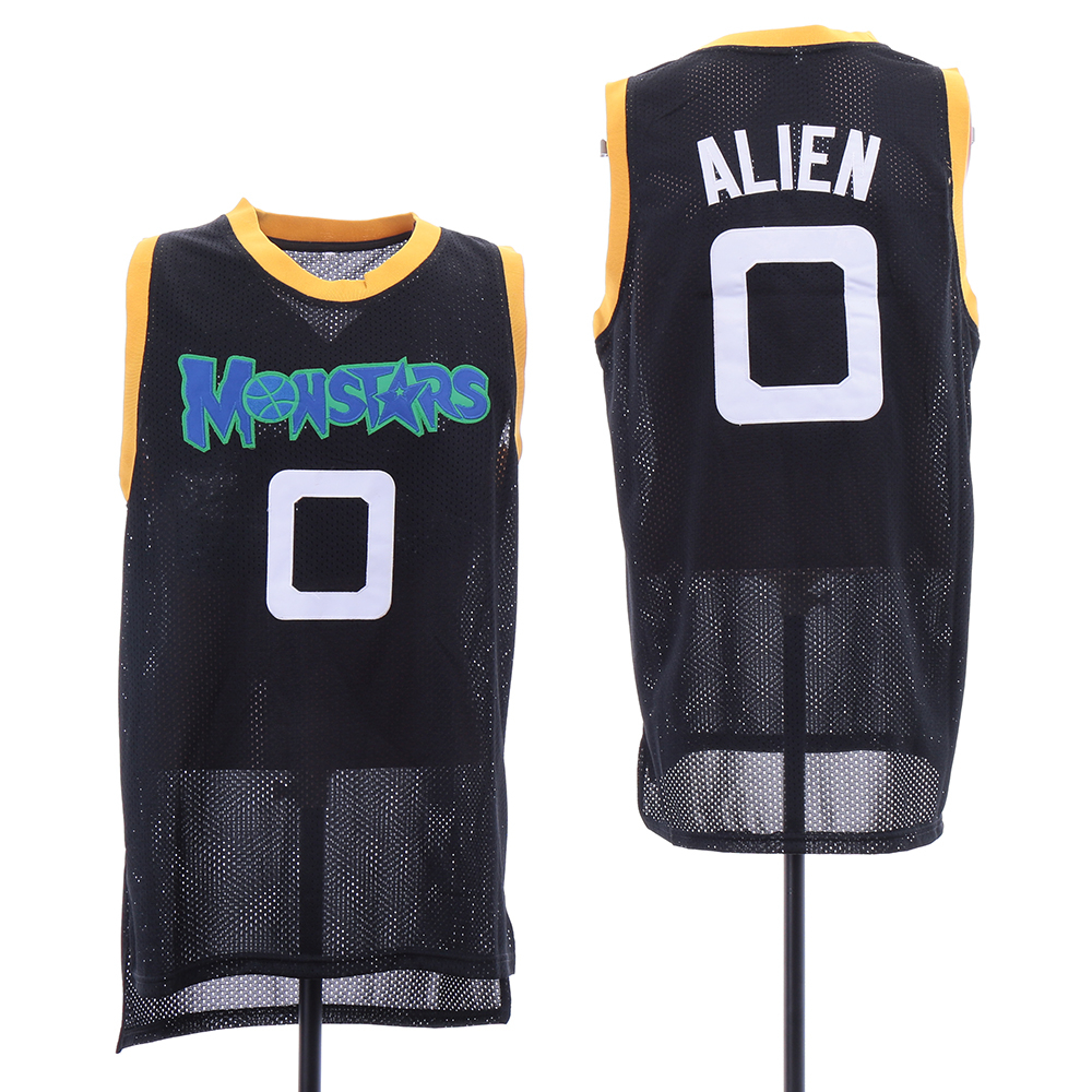 Monstars 0 Alien Black Space Jam Stitched Mesh Movie Jersey