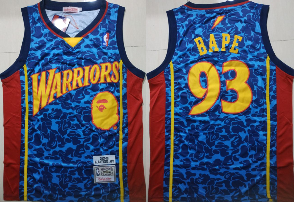 Warriors 93 Bape Blue 2009-10 Hardwood Classics Jersey
