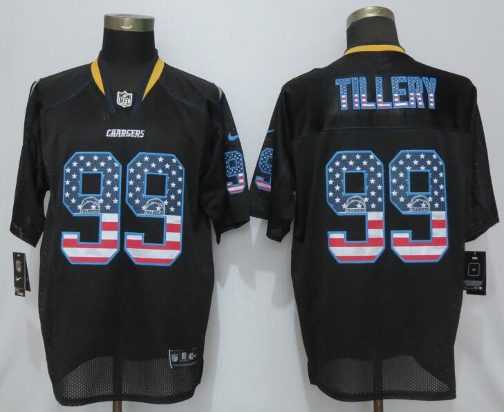 Nike Chargers 99 Jerry Tillery Black USA Flag Fashion Limited Jersey