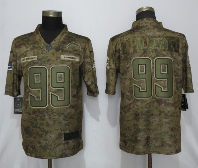 Nike Chargers 99 Jerry Tillery Camo Salute to Service Limited Jersey