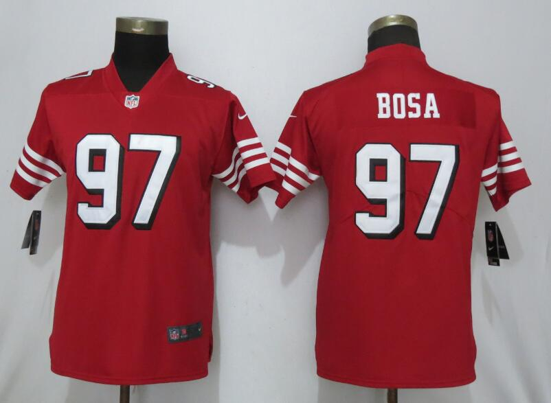 Nike 49ers 97 Nick Bosa Red Women 2019 NFL Draft First Round Pick Color Rush Vapor Untouchable Limited Jersey
