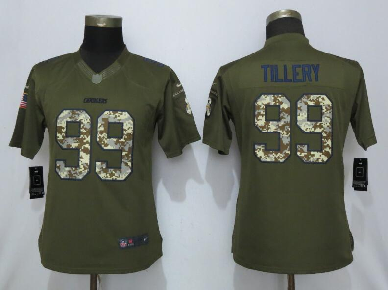 Nike Chargers 99 Jerry Tillery Olive Camo Women Salute to Service Limited Jersey