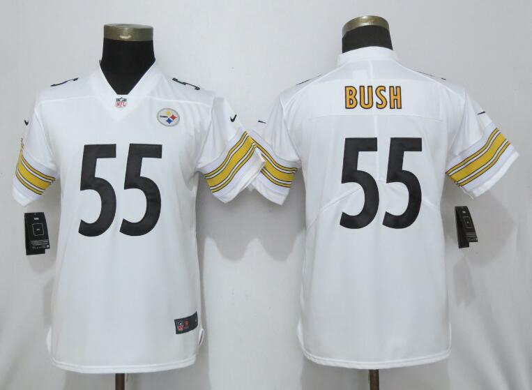 Nike Steelers 55 Devin Bush White Women 2019 NFL Draft First Round Pick Vapor Untouchable Limited Jersey