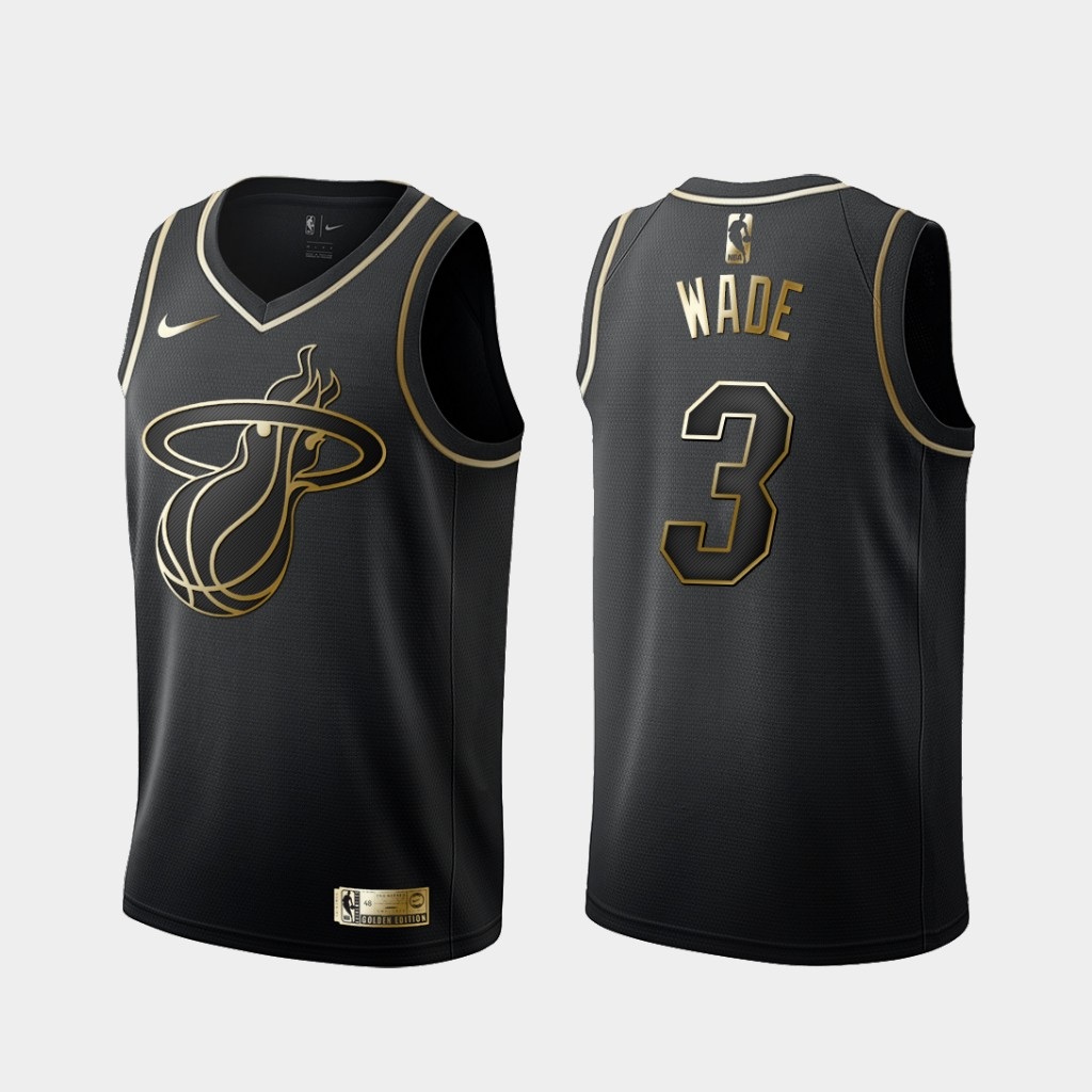 Heat 3 Dwyane Wade Black Gold Nike Swingman Jersey