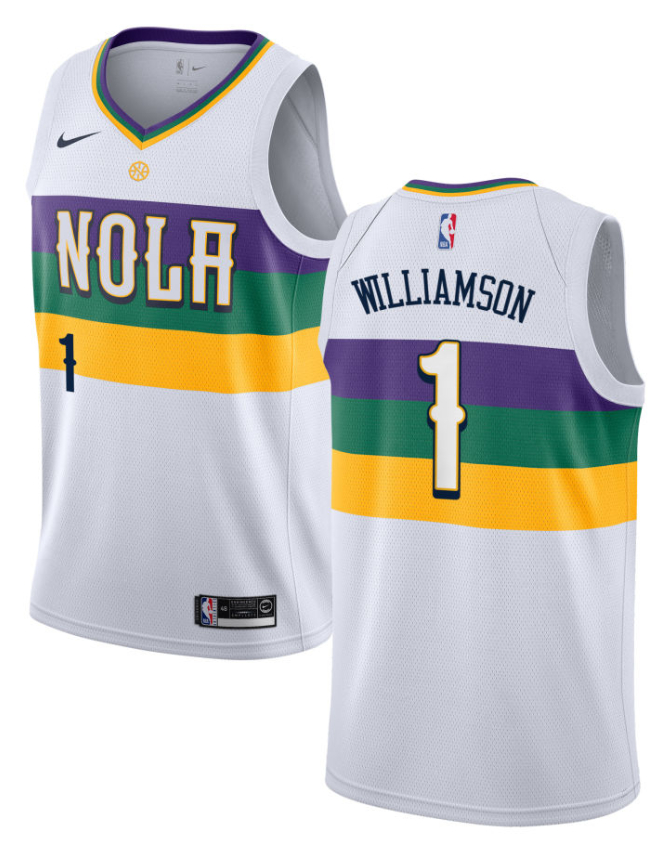 Pelicans 1 Zion Williamson White City Edition Nike Swingman Jersey
