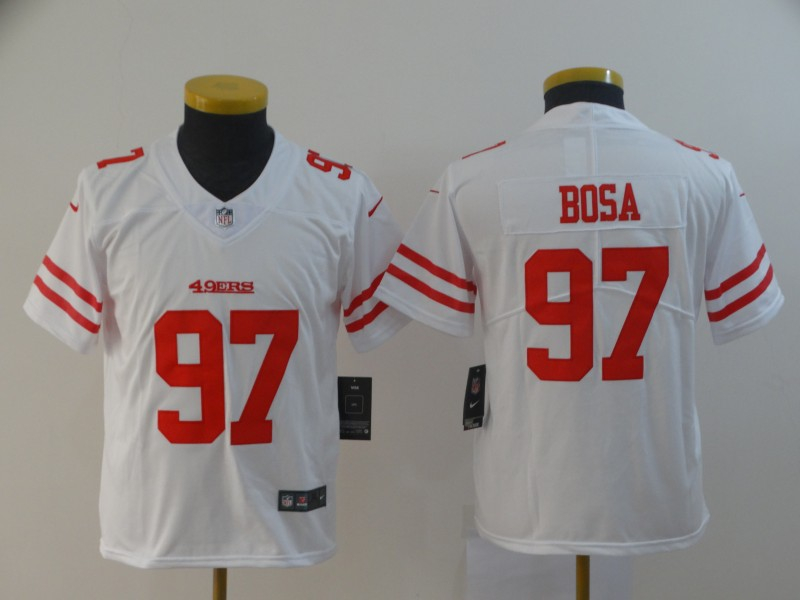 Nike 49ers 97 Nick Bosa White Youth 2019 NFL Draft First Round Pick Vapor Untouchable Limited Jersey