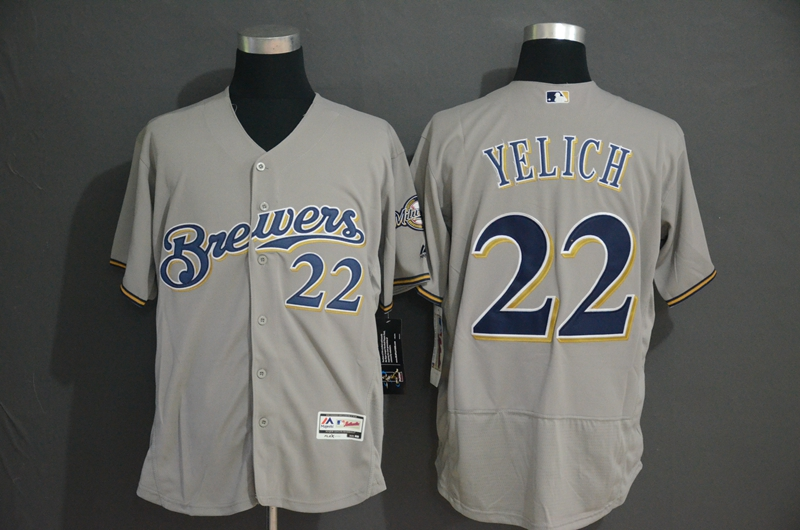 Brewers 22 Christian Yelich Gray Flexbase Jersey