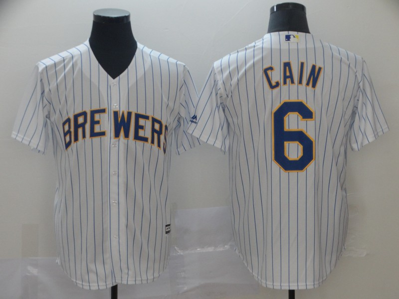 Brewers 6 Lorenzo Cain White Cool Base Jersey