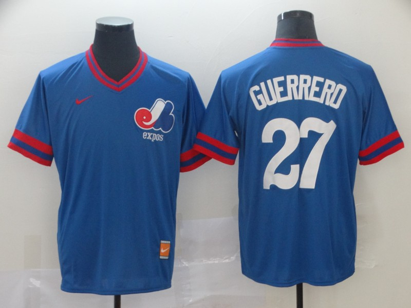 Expos 27 Vladimir Guerrero Blue Throwback Jersey