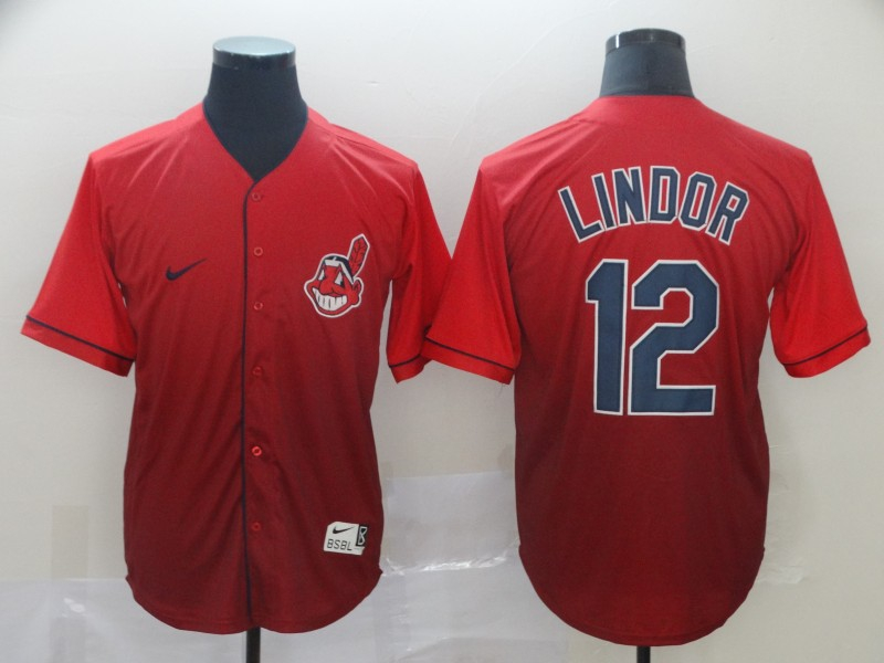 Indians 12 Francisco Lindor Red Drift Fashion Jersey