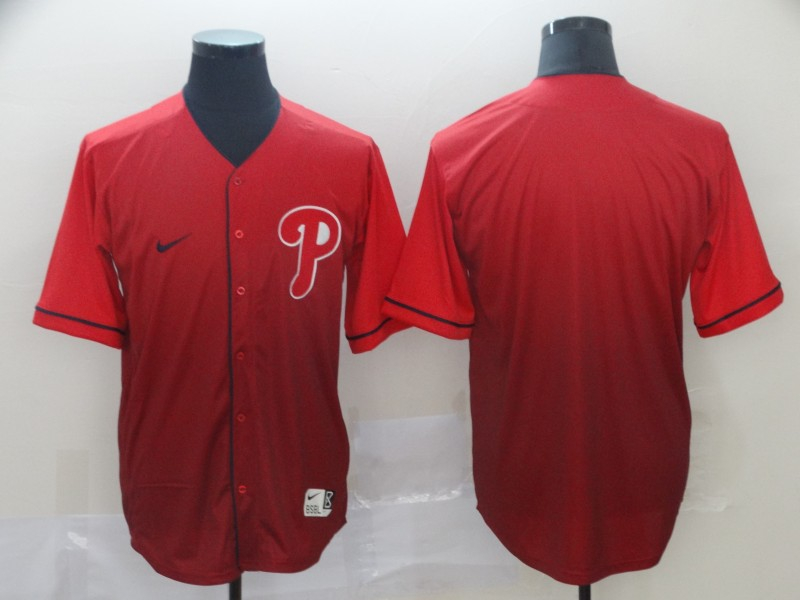 Phillies Blank Red Drift Fashion Jersey