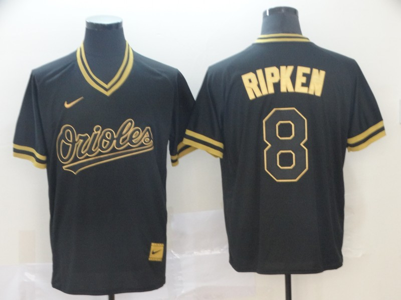 Orioles 8 Cal Ripken Jr Black Gold Nike Cooperstown Collection Legend V Neck Jersey