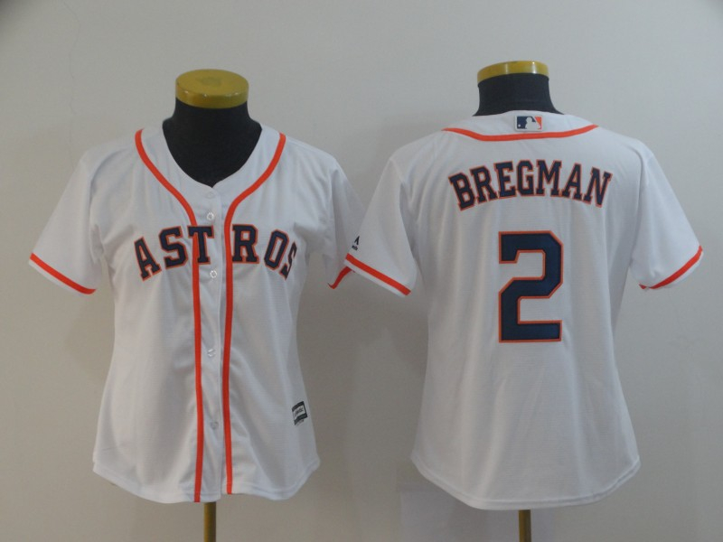 Astros 2 Alex Bregman White Women Cool Base Jersey