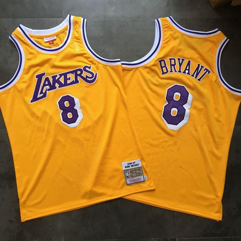 Lakers 8 Kobe Bryant Yellow 1996-97 Hardwood Classics Jersey