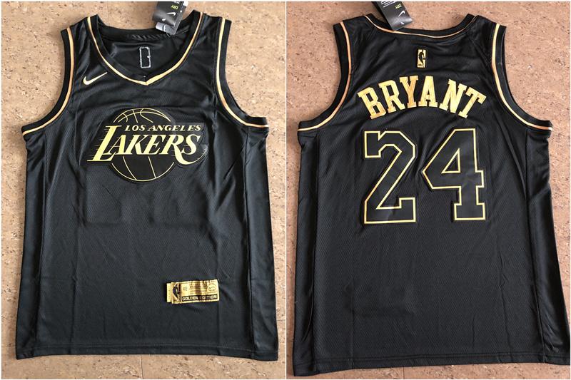 Lakers 24 Kobe Bryant Black Gold Nike Swingman Jersey