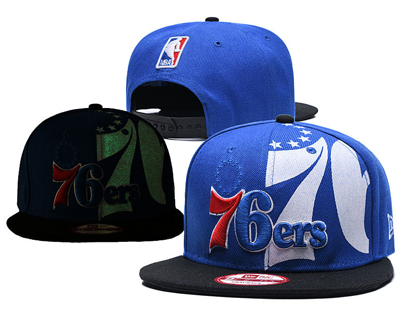 76ers Team Logo Blue Black Adjustable Hat GS