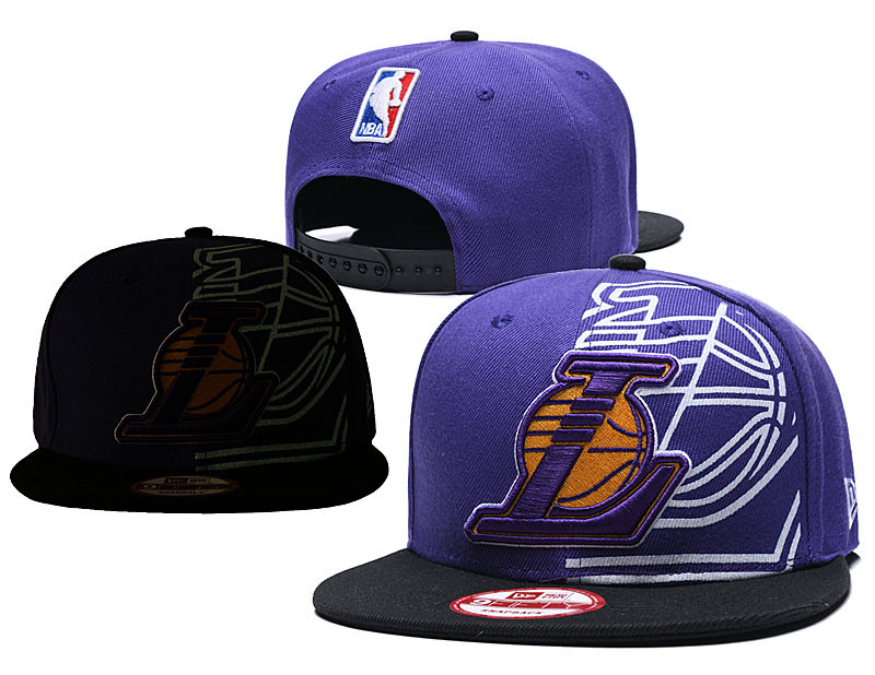 Lakers Fresh Logo Purple Black Adjustable Hat GS