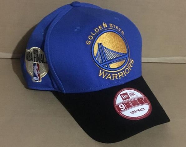Warriors Team Logo 2019 NBA Champions Blue Black Peaked Adjustable Hat GS