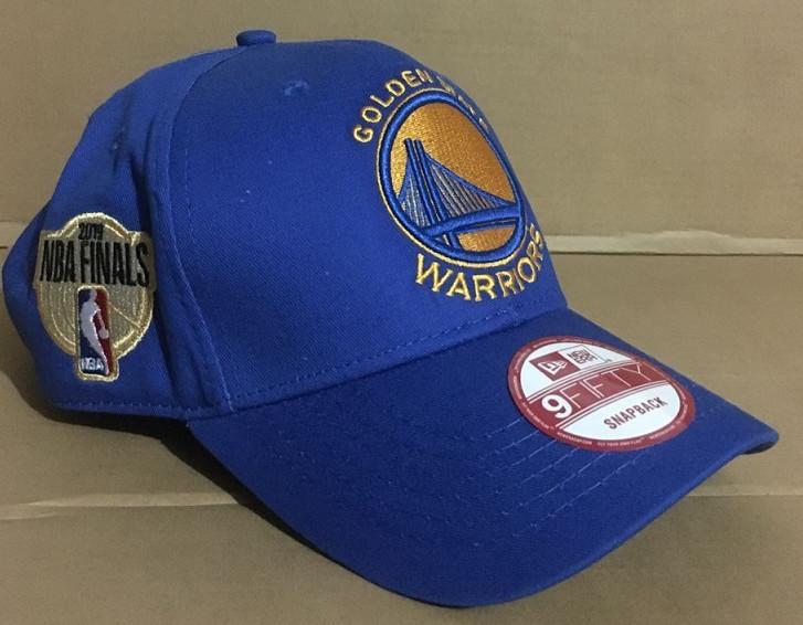 Warriors Team Logo 2019 NBA Champions Blue Peaked Adjustable Hat GS