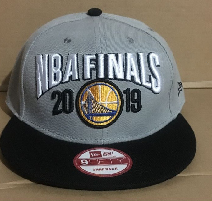 Warriors Team Logo 2019 NBA Champions Gray Adjustable Hat GS