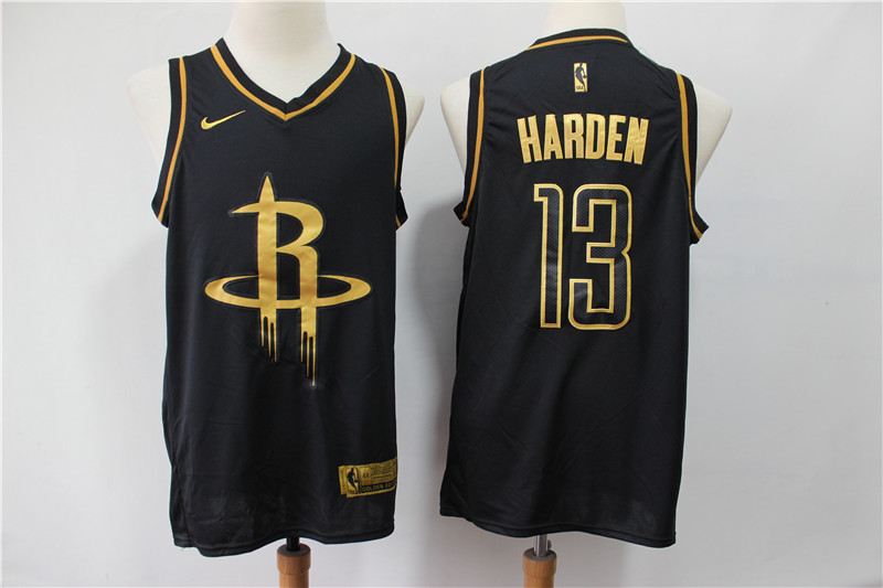 Rockets 13 James Harden Black Gold Nike Swingman Jersey