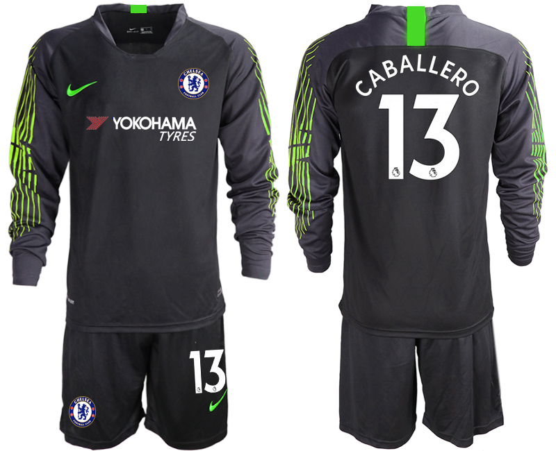 2018-19 Chelsea 13 CABALLERO Black Long Sleeve Goalkeeper Soccer Jersey