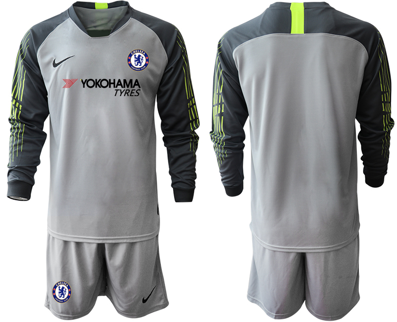 2018-19 Chelsea Gray Long Sleeve Goalkeeper Soccer Jersey