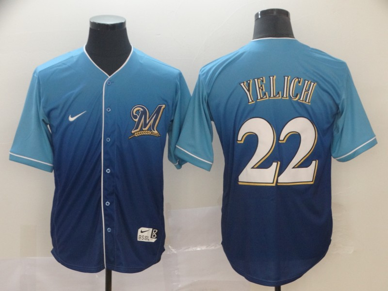 Brewers 22 Christian Yelich Royal Drift Fashion Jersey