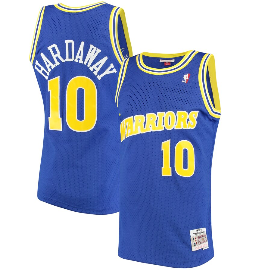 Warriors 10 Tim Hardaway Blue 1990-92 Hardwood Classics Mesh Jersey