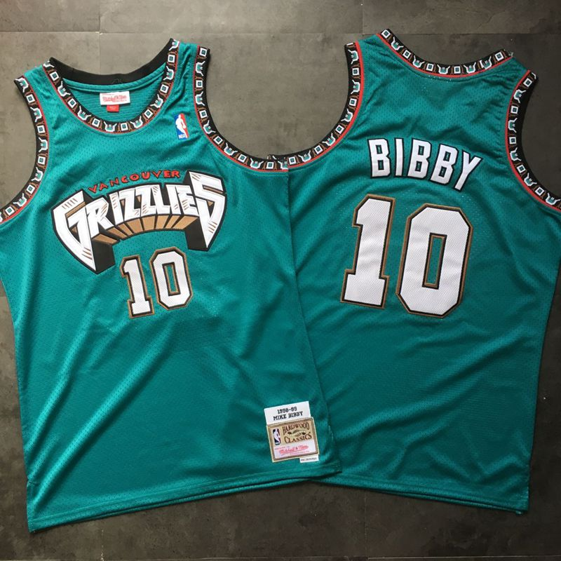 Grizzlies 10 Mike Bibby Teal 1998-99 Hardwood Classics Jersey