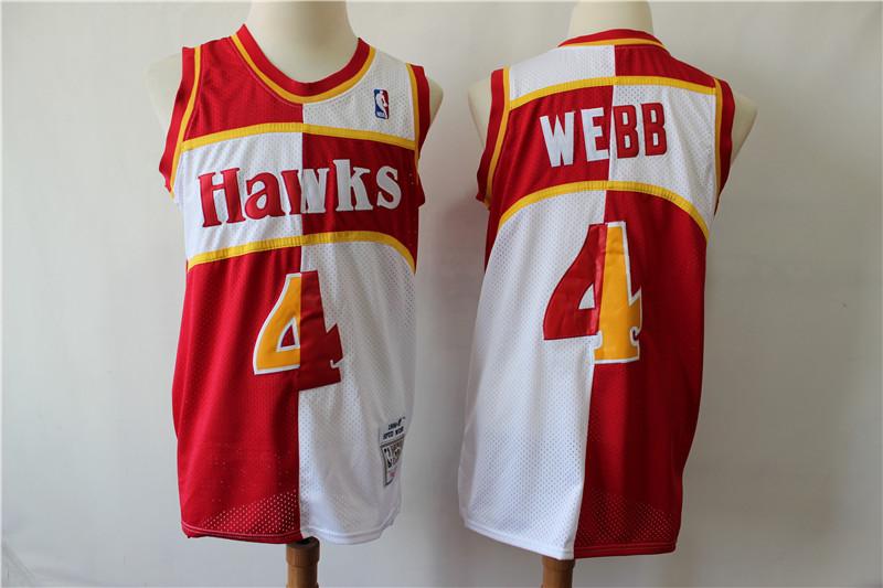 Hawks 4 Spud Webb Red Whhite 1986-87 Hardwood Classics Jersey