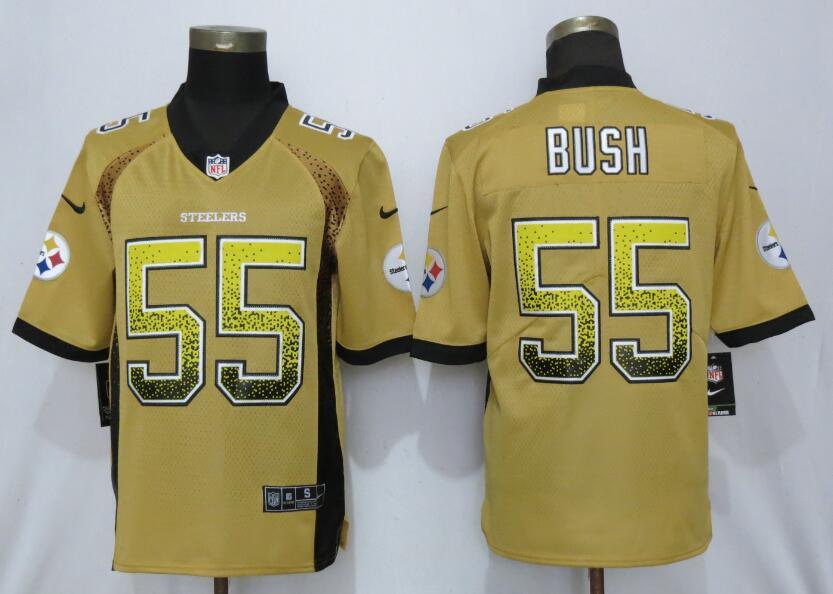 Nike Steelers 55 Devin Bush Yellow Drift Fashion Limited Jersey