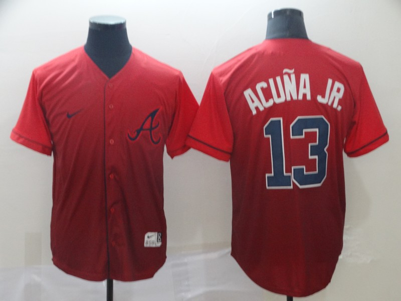 Braves 13 Ronald Acuna Jr Red Drift Fashion Jersey