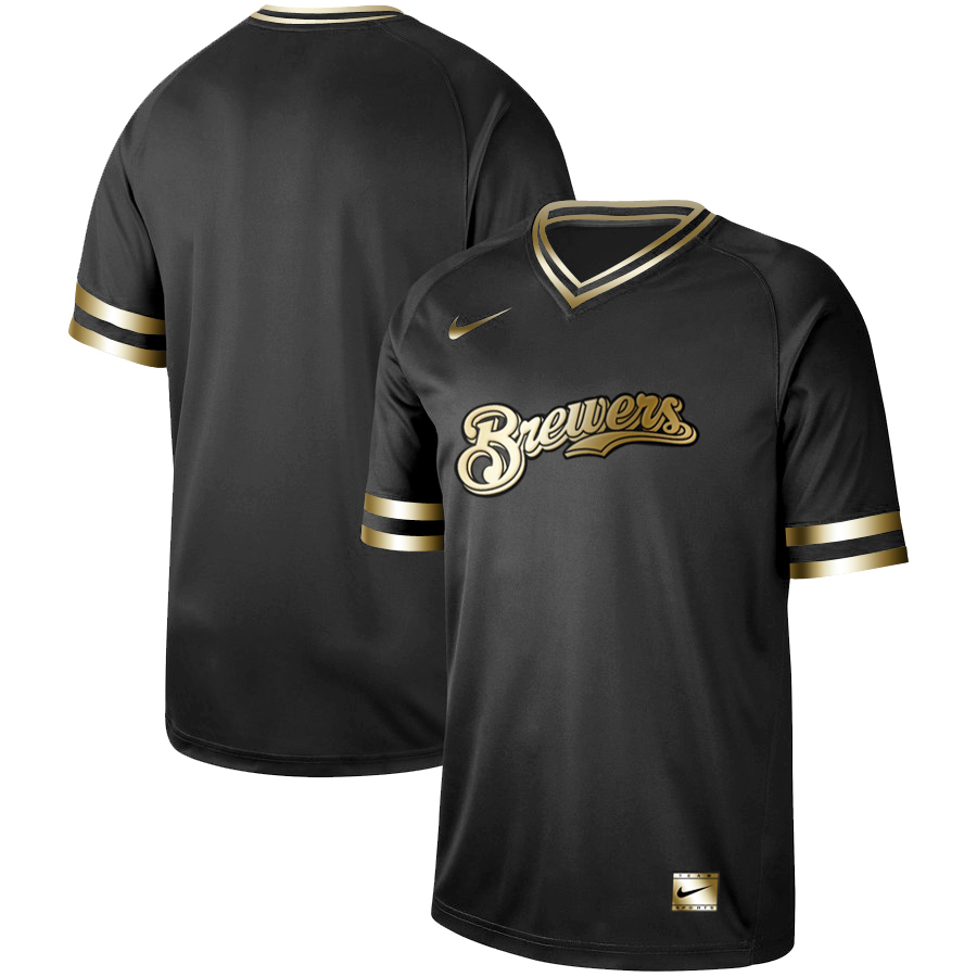 Brewers Blank Black Gold Nike Cooperstown Collection Legend V Neck Jersey
