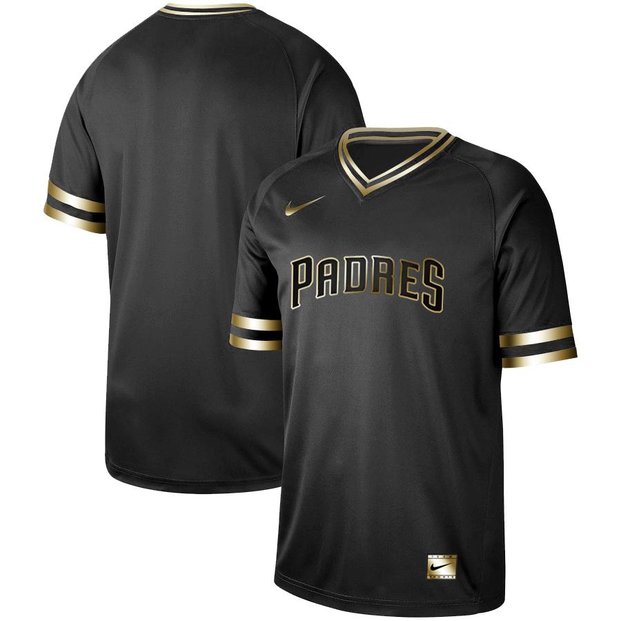 Padres Blank Black Gold Nike Cooperstown Collection Legend V Neck Jersey