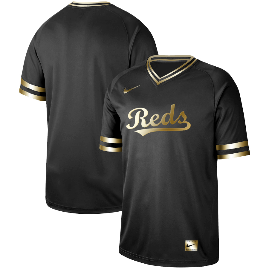 Reds Blank Black Gold Nike Cooperstown Collection Legend V Neck Jersey