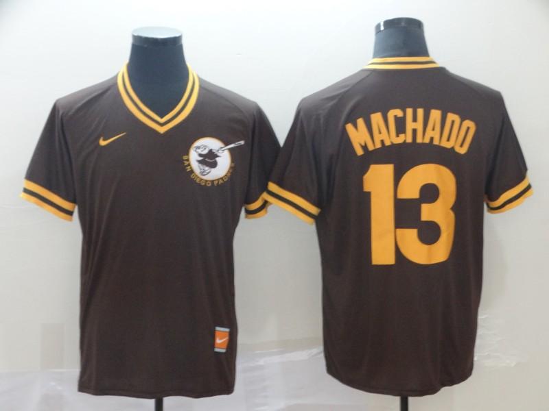 Padres 13 Manny Machado Brown Throwback Jersey