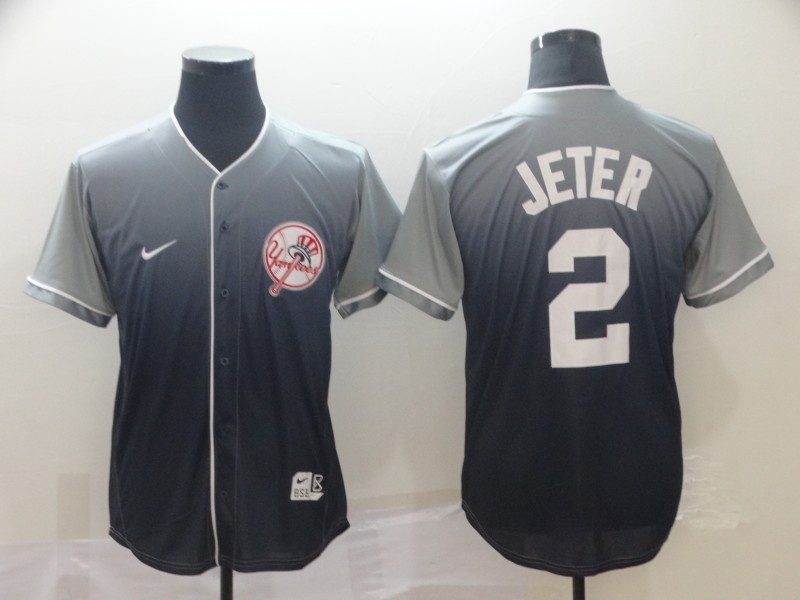 Yankees 2 Derek Jeter Gray Drift Fashion Jersey