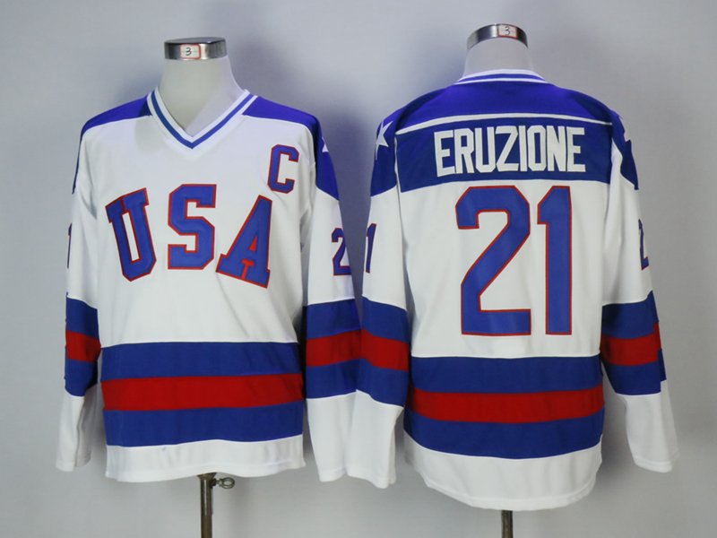 USA 21 Mike Eruzione White 1980 Miracle On Ice Hockey Jersey