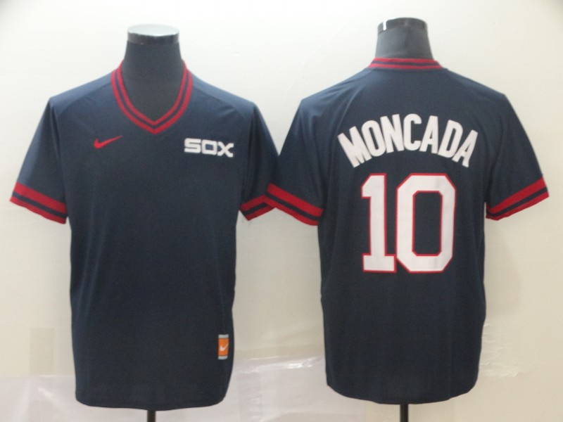 White Sox 10 Yoan Moncada Navy Throwback Jersey