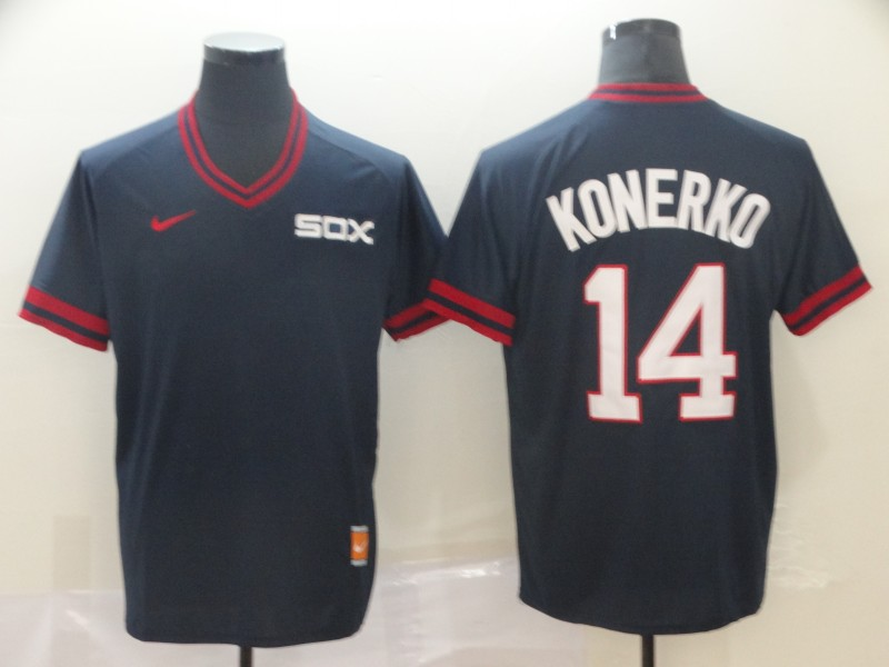 White Sox 14 Paul Konerko Navy Throwback Jersey