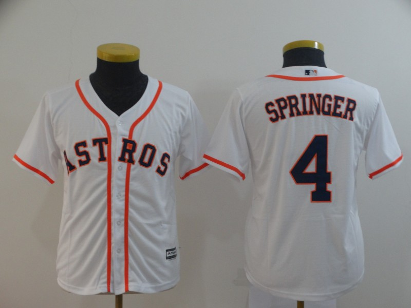 Astros 4 George Springer White Youth Cool Base Jersey