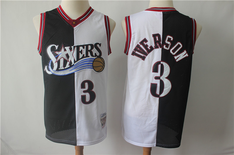 76ers 3 Allen Iverson Black White Split 1996-97 Hardwood Classics Jersey